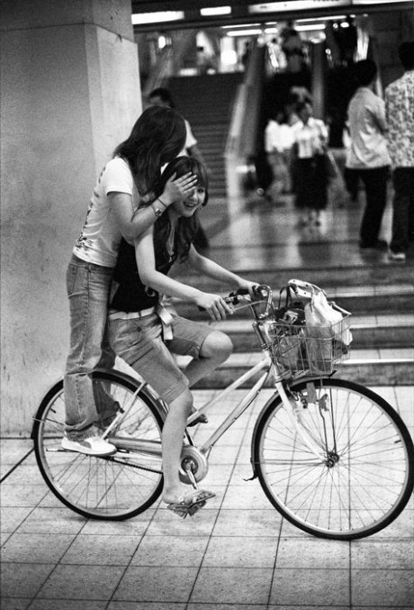Two Girls on a Bike: Okubo JR Station, Osaka